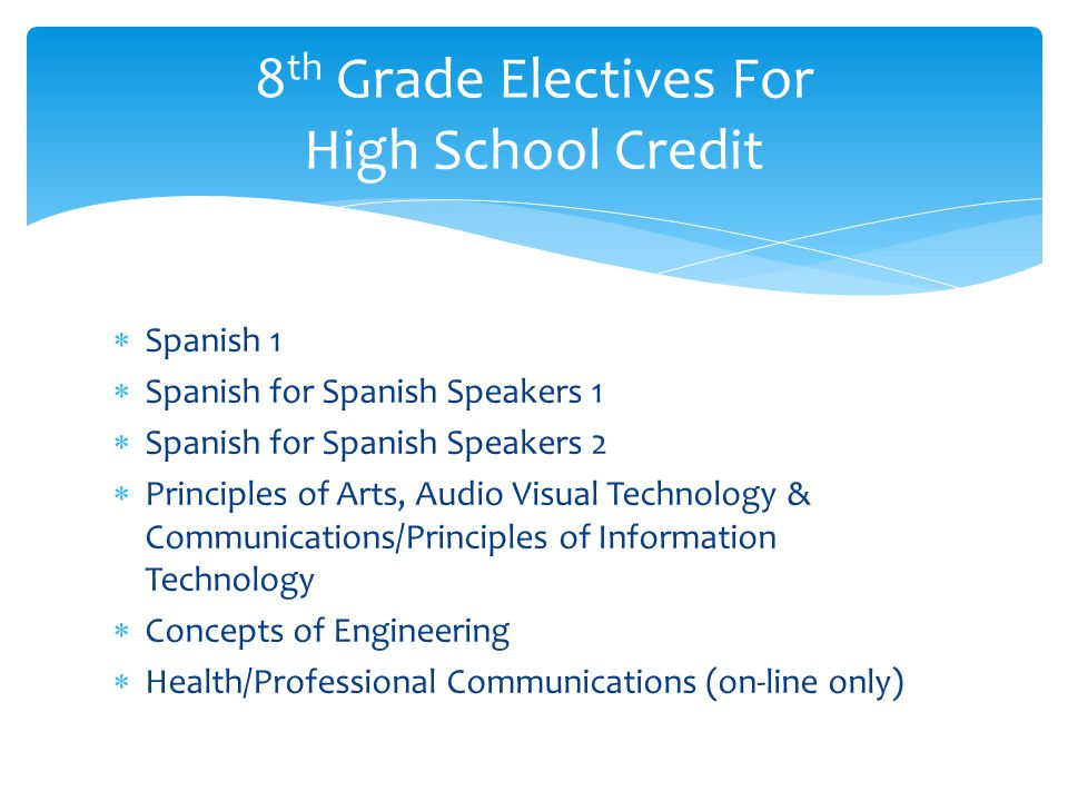 8th Grade Electives For High School Credit