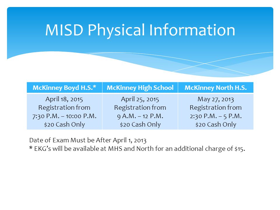 MISD Physical Information