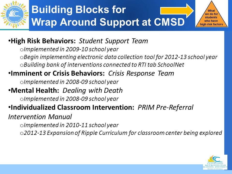 Building Blocks for Wrap Around Support at CMSD