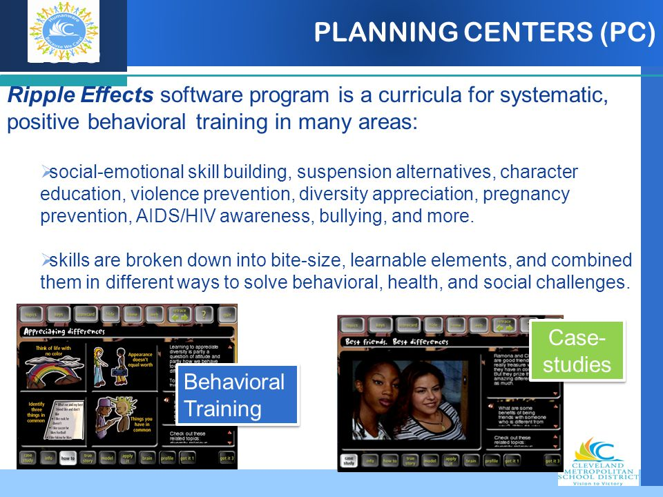 PLANNING CENTERS (PC) Ripple Effects software program is a curricula for systematic, positive behavioral training in many areas: