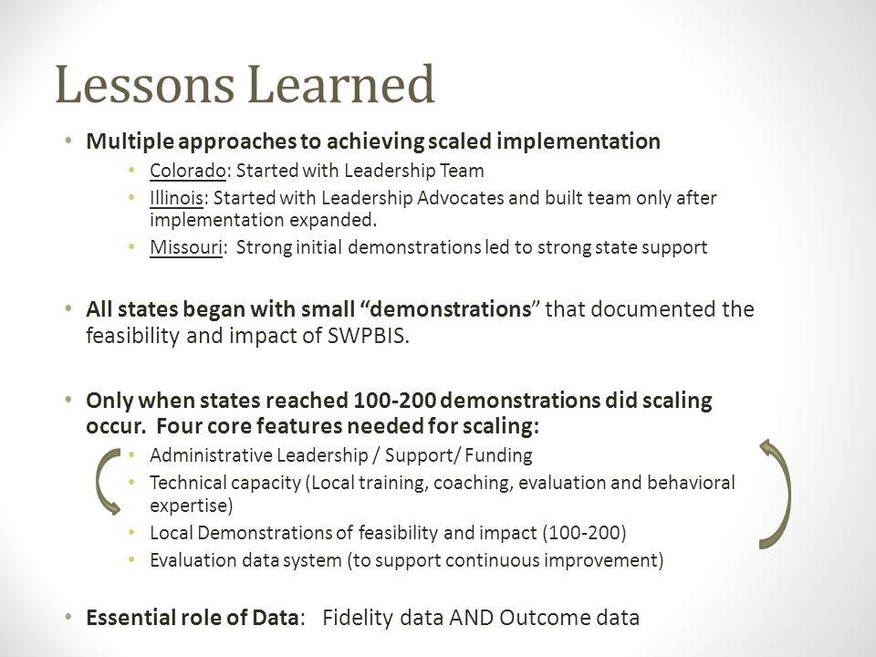 Lessons Learned Multiple approaches to achieving scaled implementation