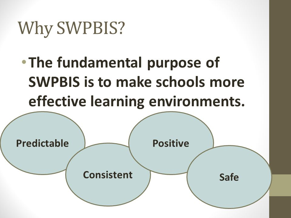 Why SWPBIS The fundamental purpose of SWPBIS is to make schools more effective learning environments.