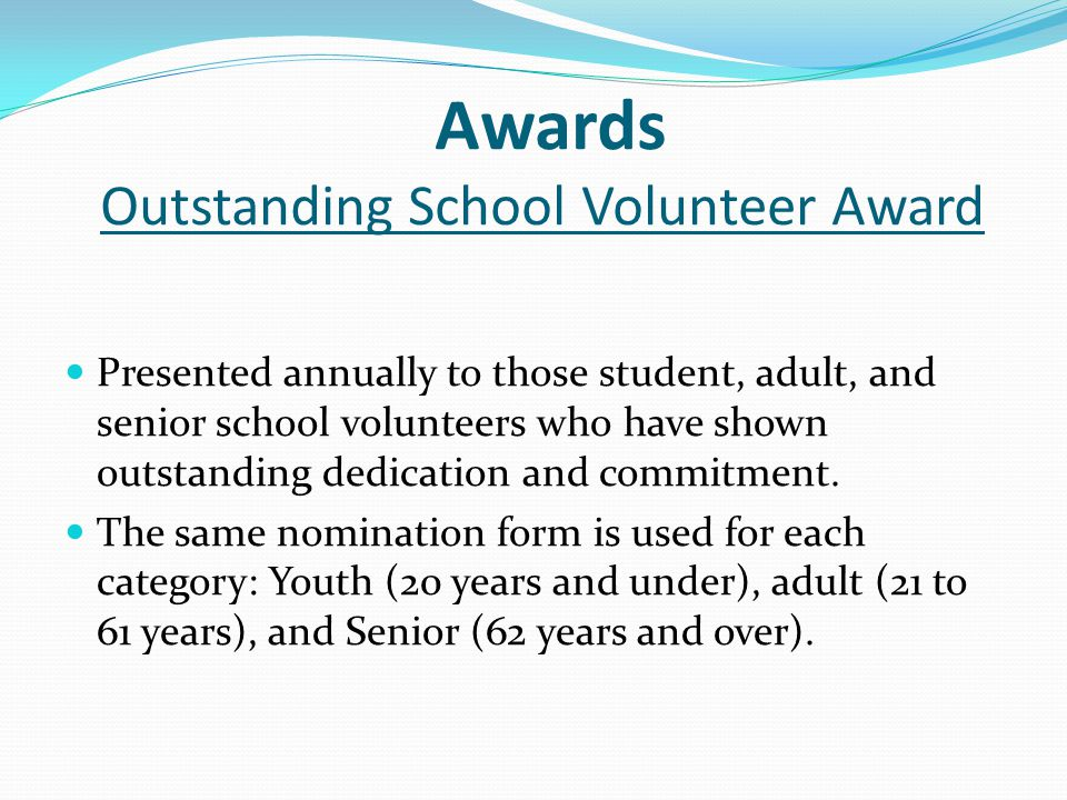 Awards Outstanding School Volunteer Award