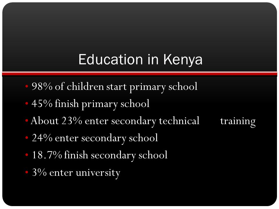 Education in Kenya 98% of children start primary school