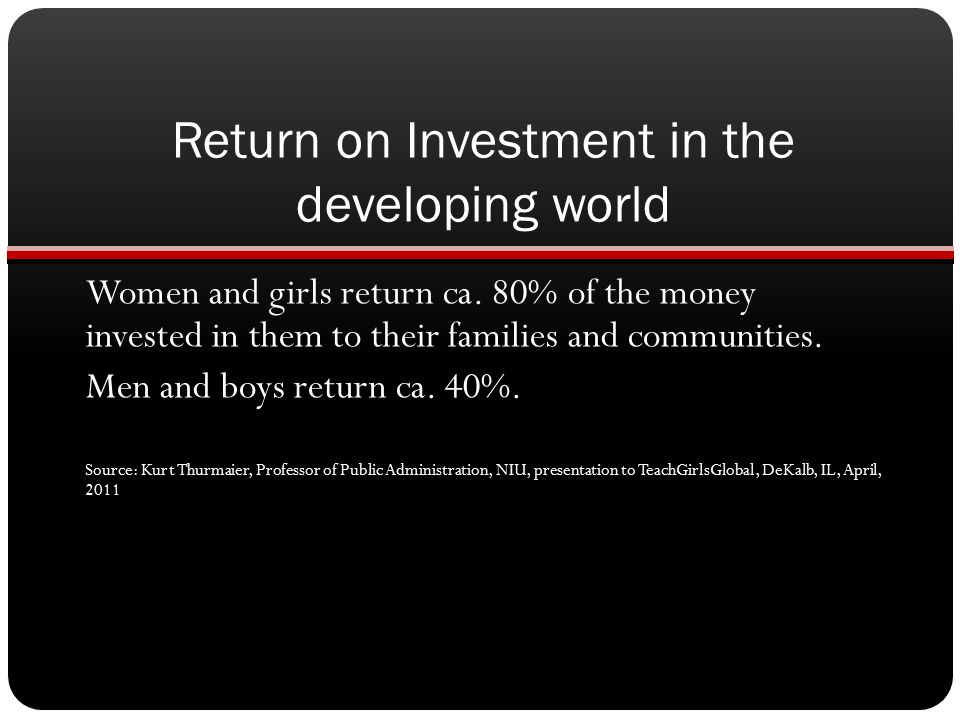Return on Investment in the developing world