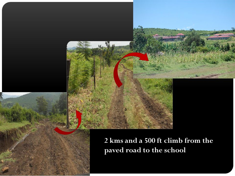 2 kms and a 500 ft climb from the paved road to the school
