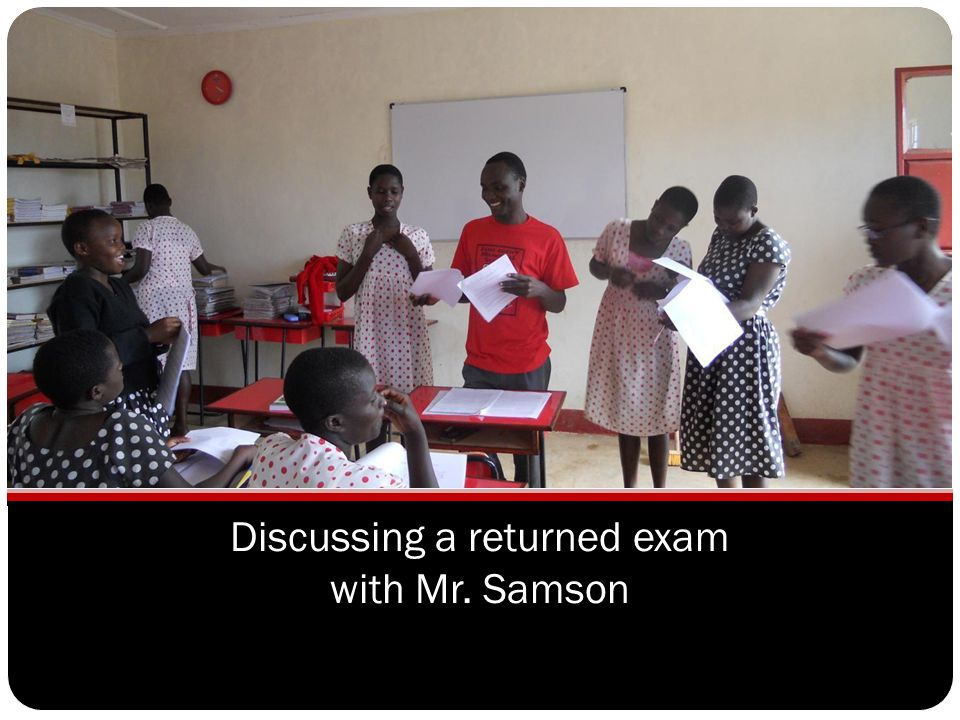 Discussing a returned exam with Mr. Samson