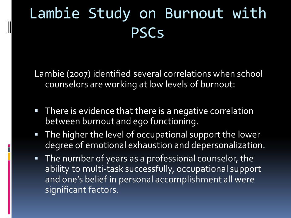Lambie Study on Burnout with PSCs