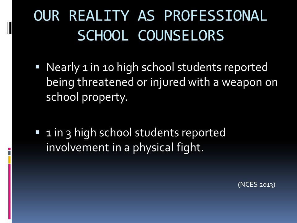 OUR REALITY AS PROFESSIONAL SCHOOL COUNSELORS