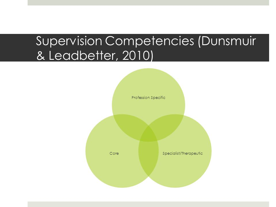 Supervision Competencies (Dunsmuir & Leadbetter, 2010)