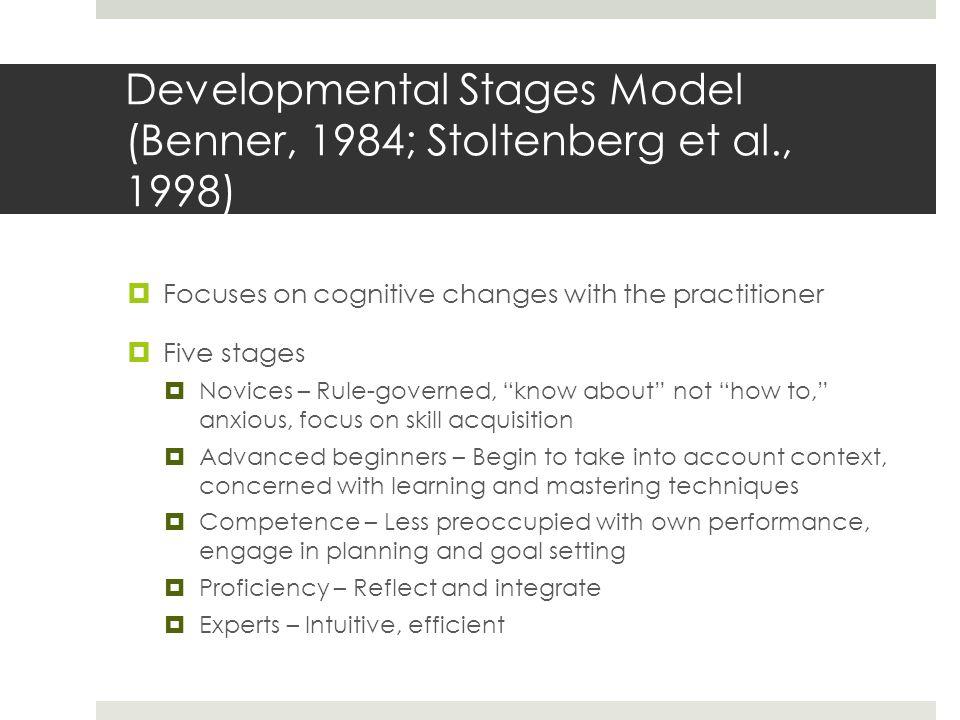 Developmental Stages Model (Benner, 1984; Stoltenberg et al., 1998)