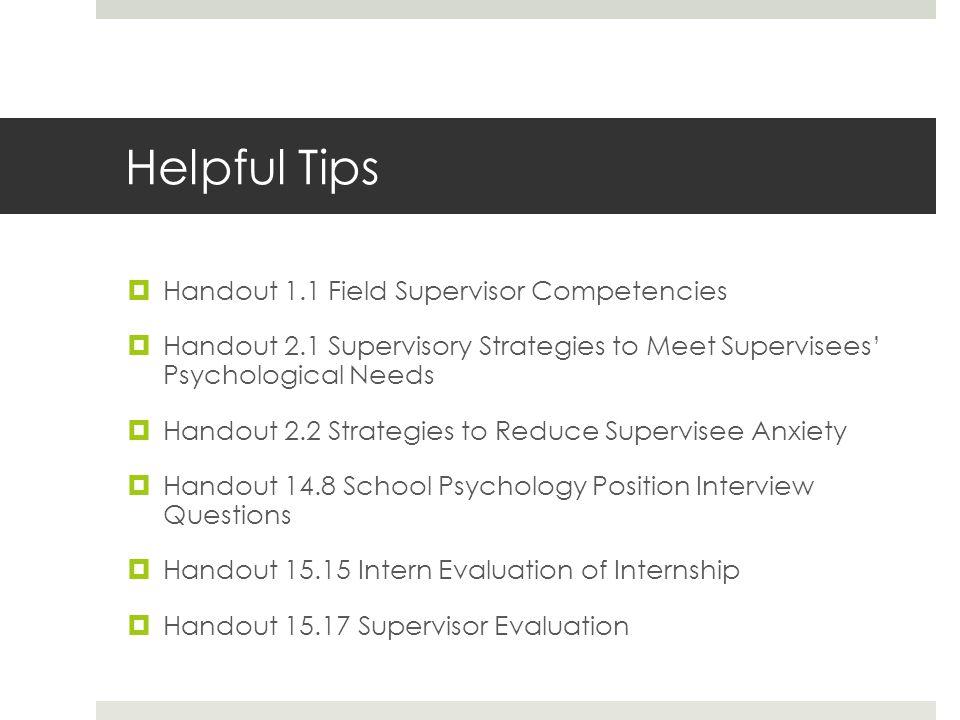 Helpful Tips Handout 1.1 Field Supervisor Competencies