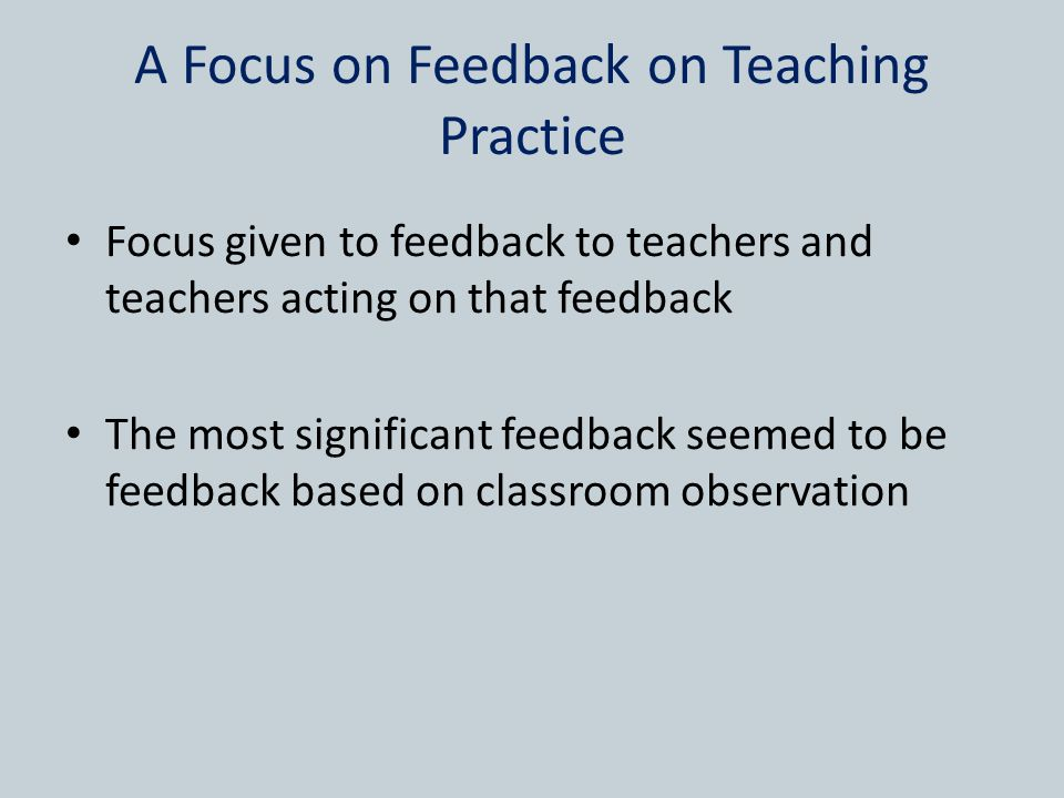 A Focus on Feedback on Teaching Practice