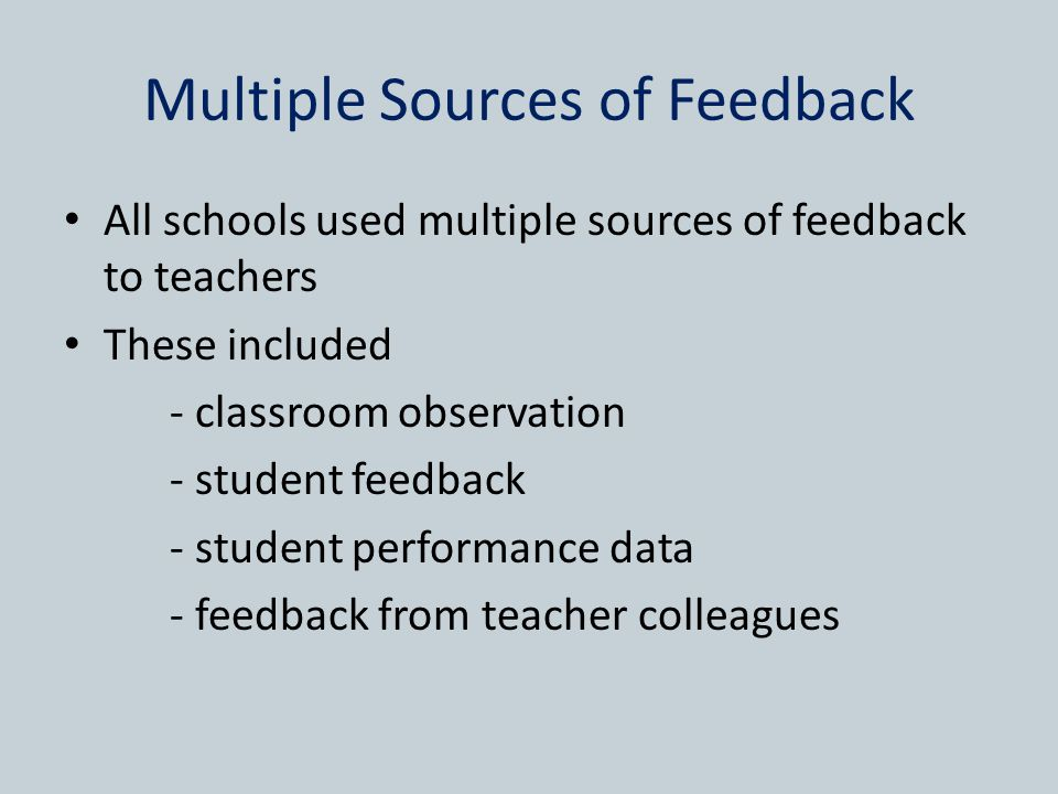 Multiple Sources of Feedback