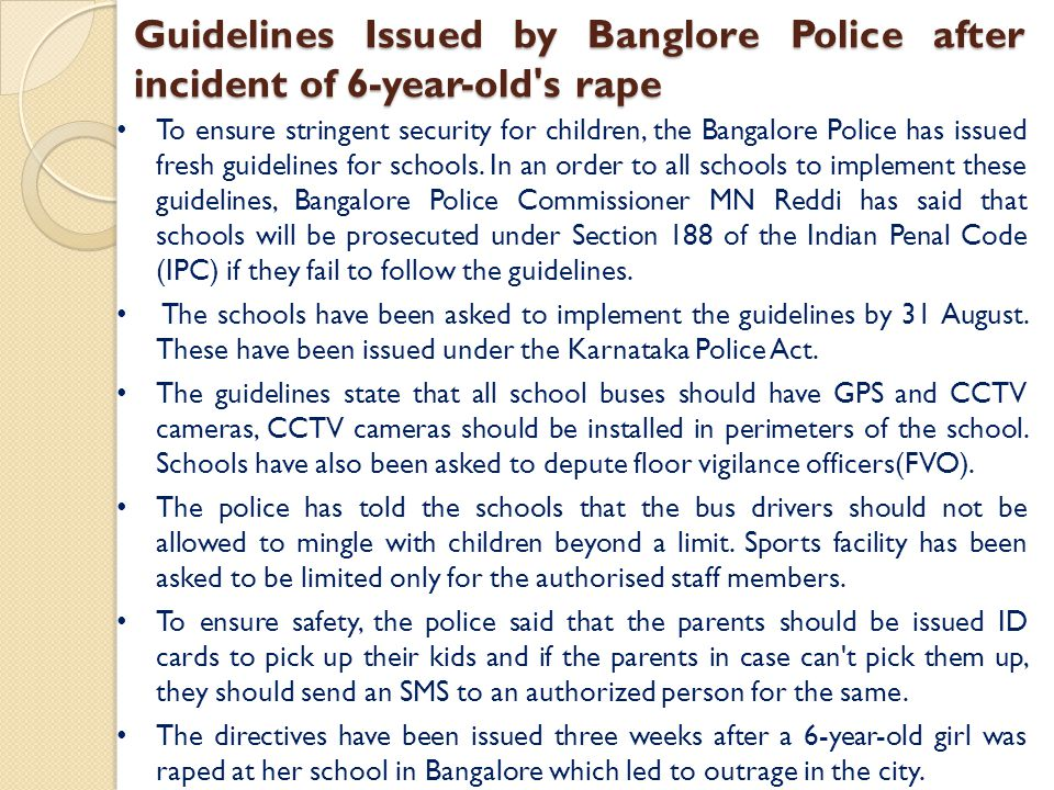Guidelines Issued by Banglore Police after incident of 6-year-old s rape