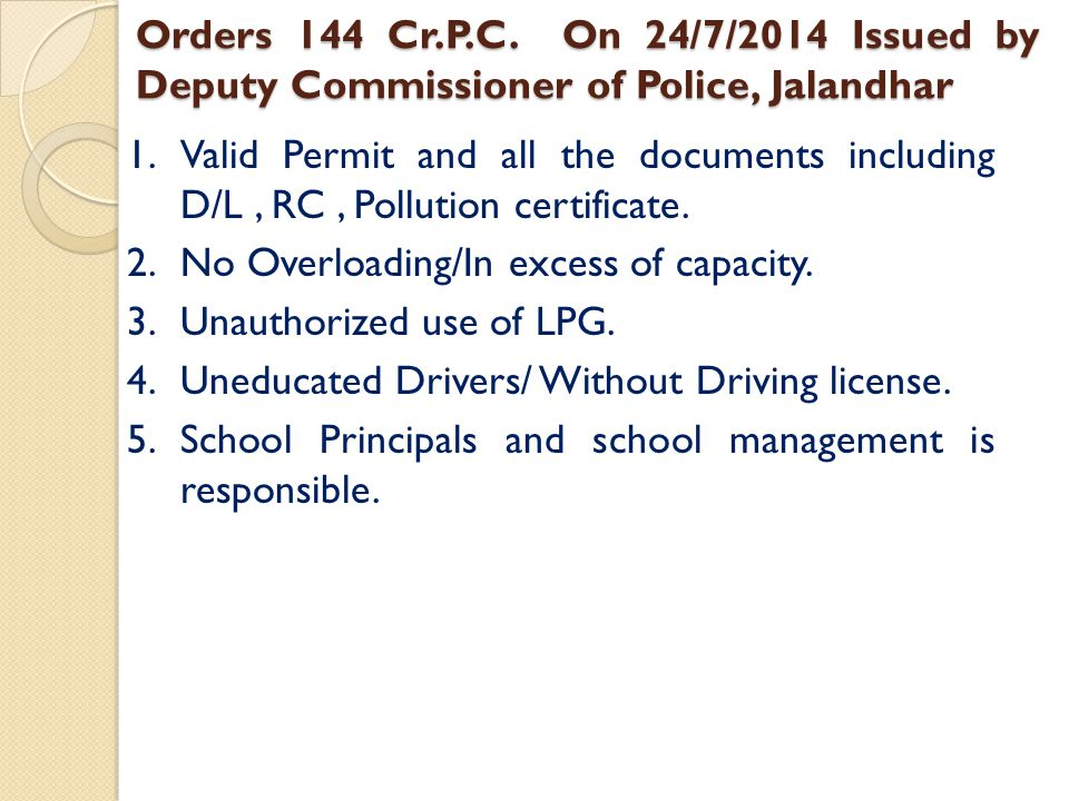 Orders 144 Cr.P.C. On 24/7/2014 Issued by Deputy Commissioner of Police, Jalandhar