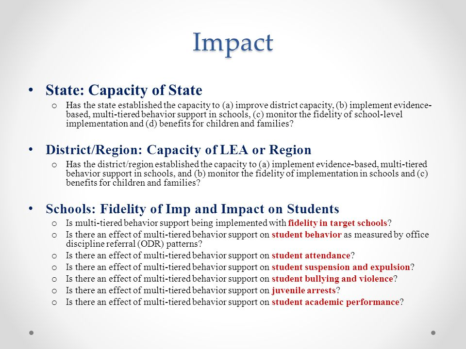 Impact State: Capacity of State