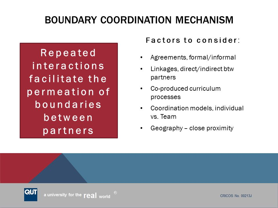 Boundary coordination mechanism