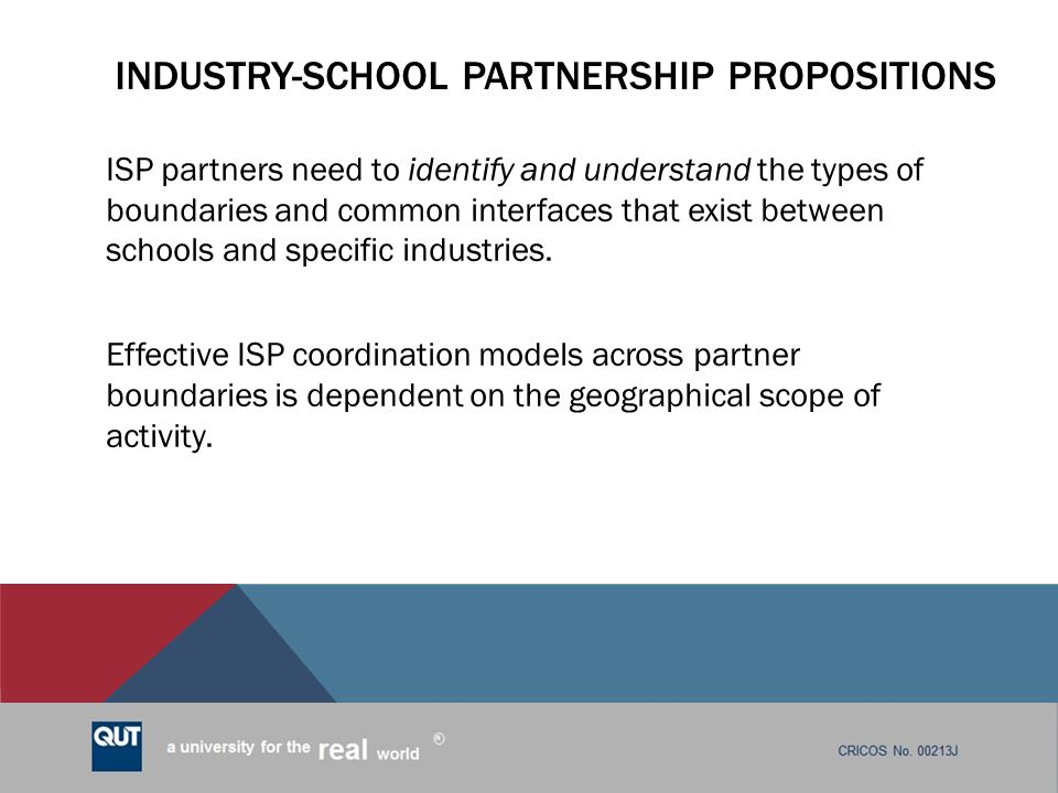 Industry-school partnership propositions