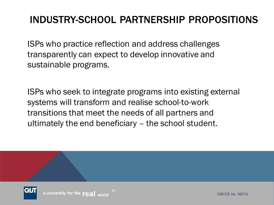 Industry-school partnership propositions
