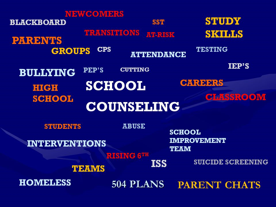 SCHOOL COUNSELING STUDY SKILLS PARENTS BULLYING ISS 504 PLANS