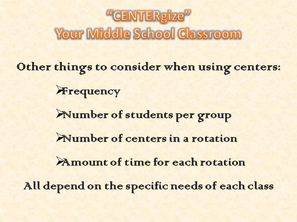 CENTERgize Your Middle School Classroom