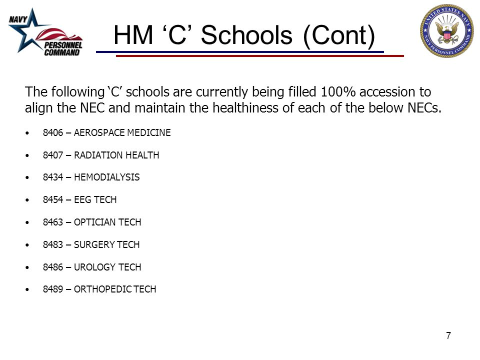 HM 'C' Schools (Cont) The following 'C' schools are currently being filled 100% accession to.