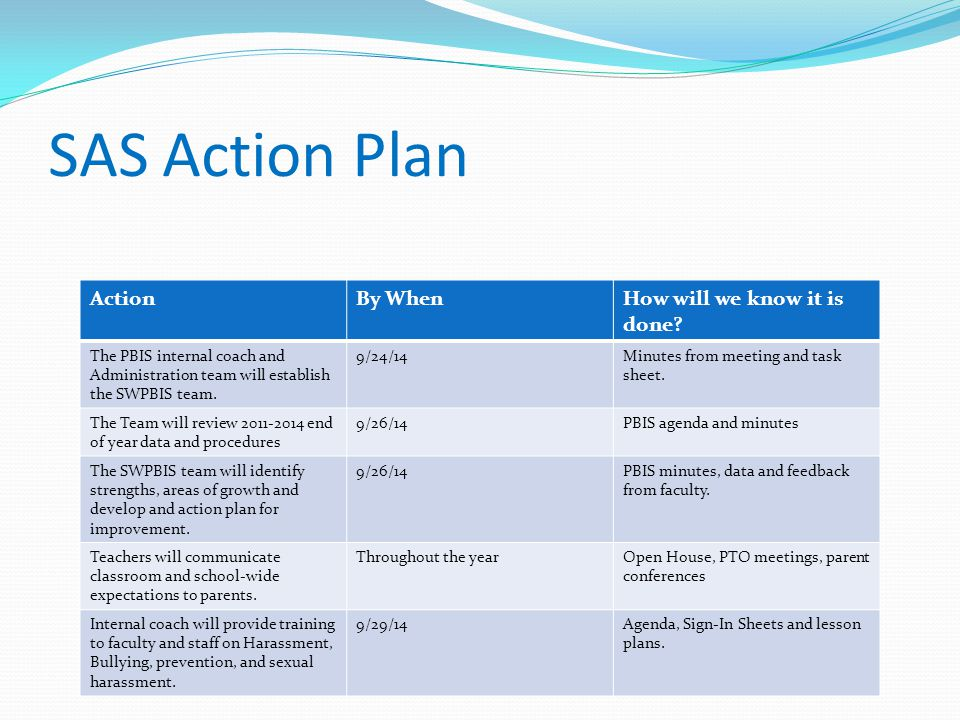 SAS Action Plan Action By When How will we know it is done