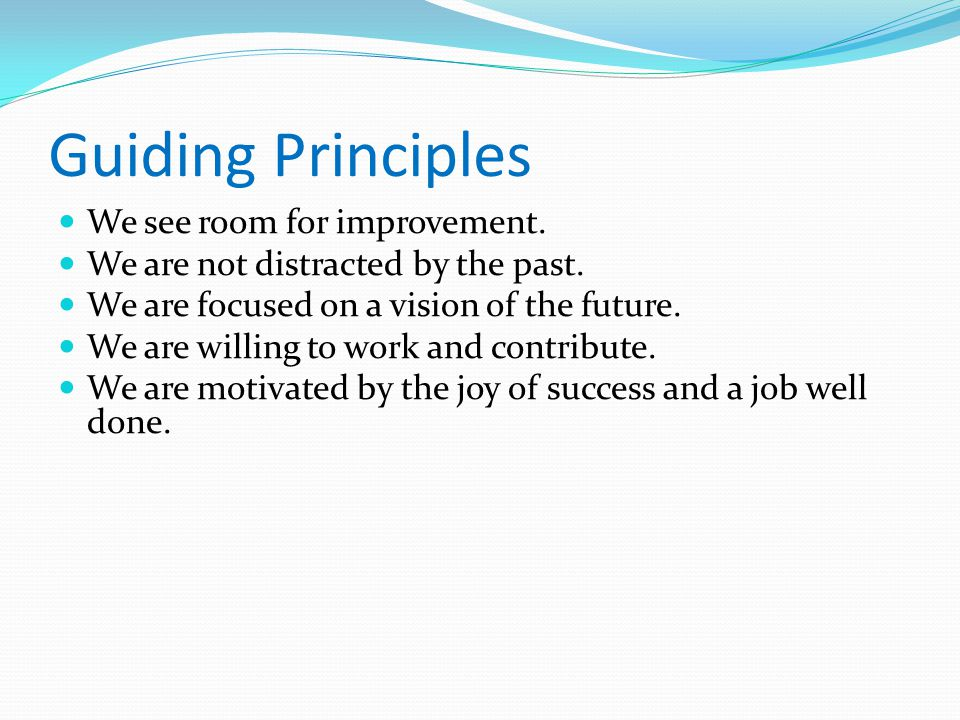 Guiding Principles We see room for improvement.