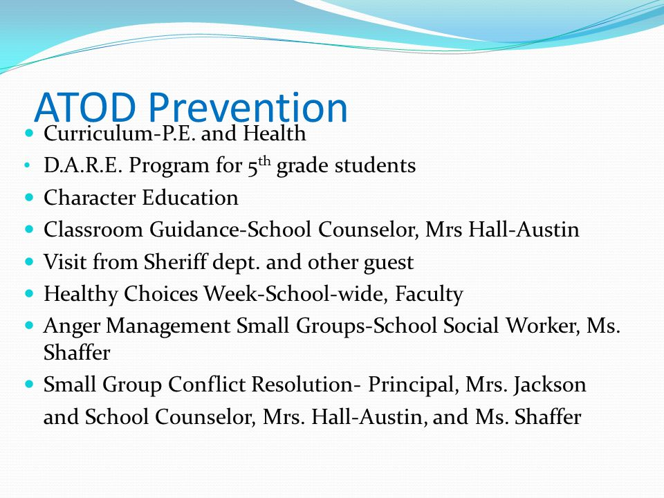 ATOD Prevention Curriculum-P.E. and Health
