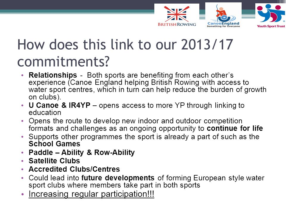 How does this link to our 2013/17 commitments