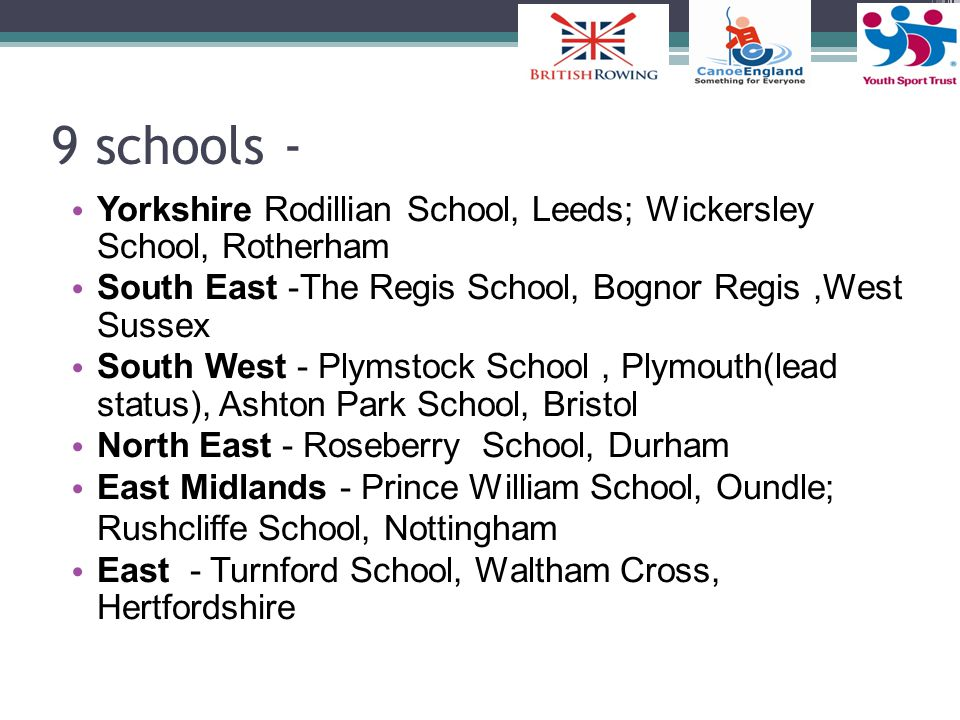 9 schools - Yorkshire Rodillian School, Leeds; Wickersley School, Rotherham. South East -The Regis School, Bognor Regis ,West Sussex.