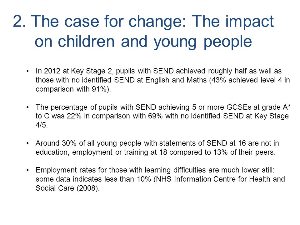 2. The case for change: The impact on children and young people
