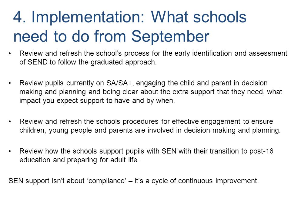 4. Implementation: What schools need to do from September