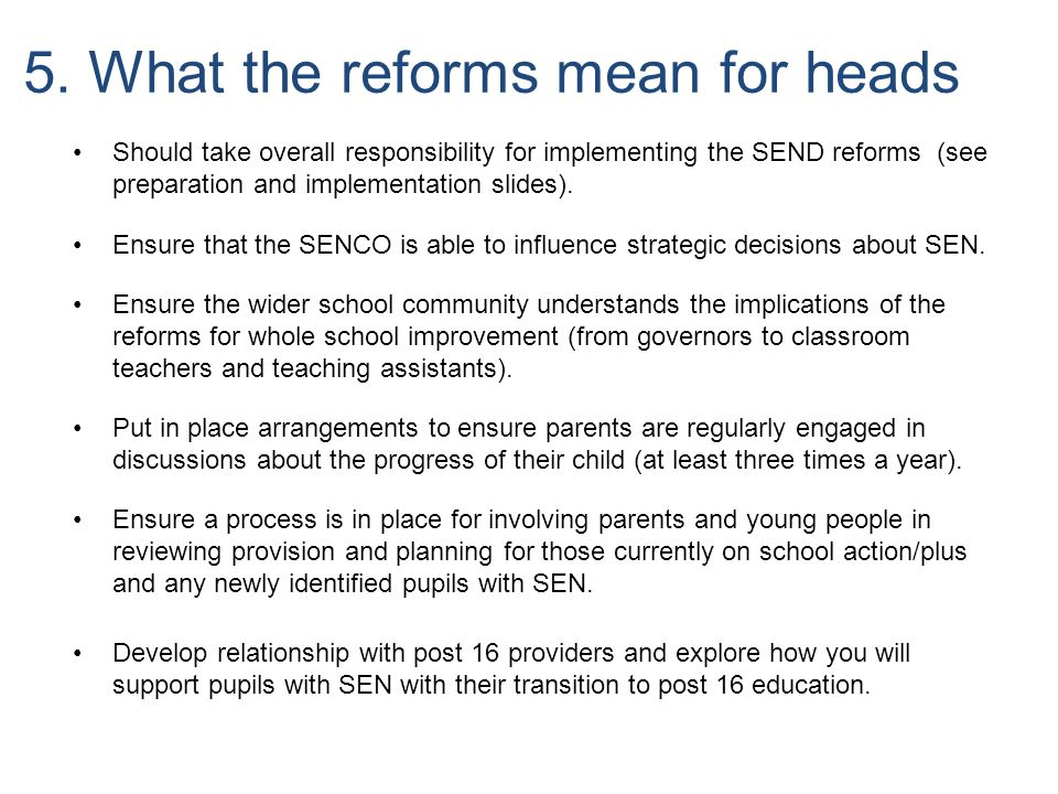 5. What the reforms mean for heads