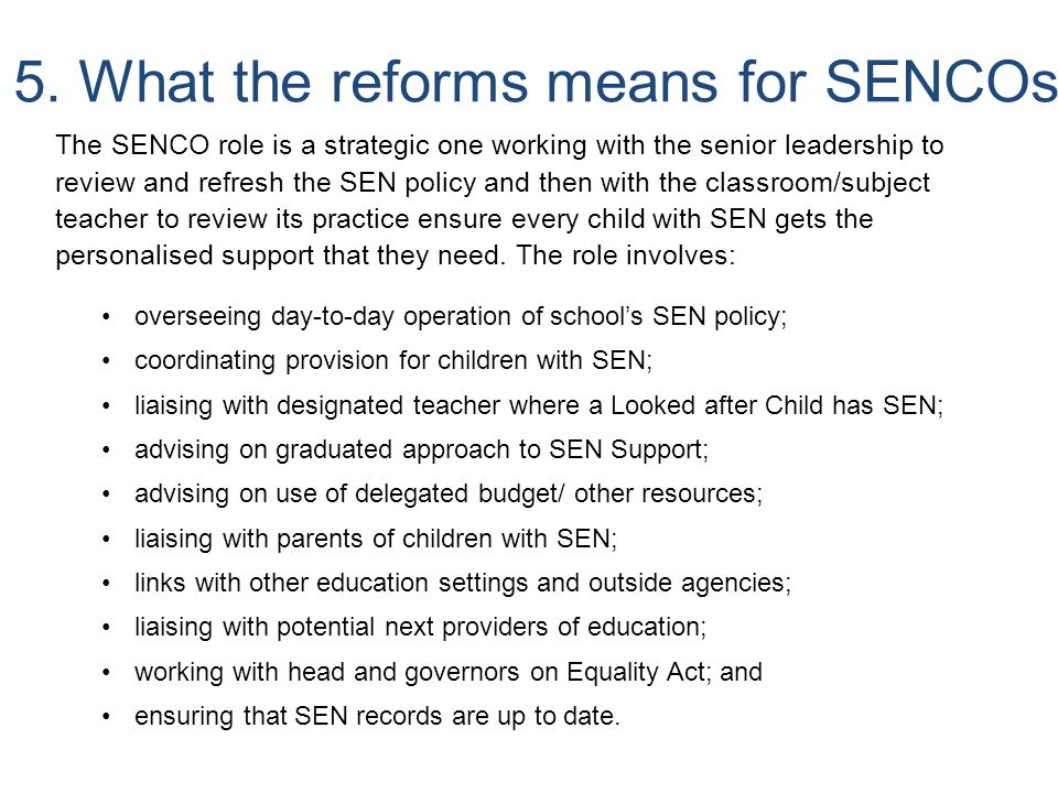 5. What the reforms means for SENCOs