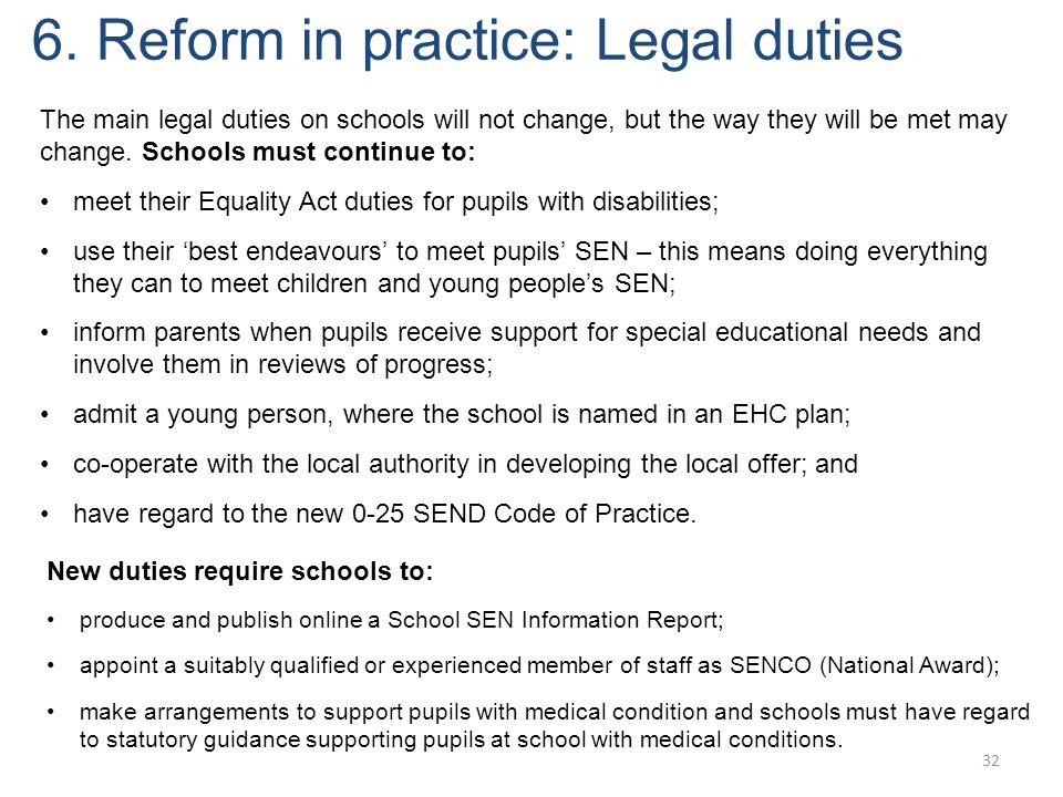 6. Reform in practice: Legal duties