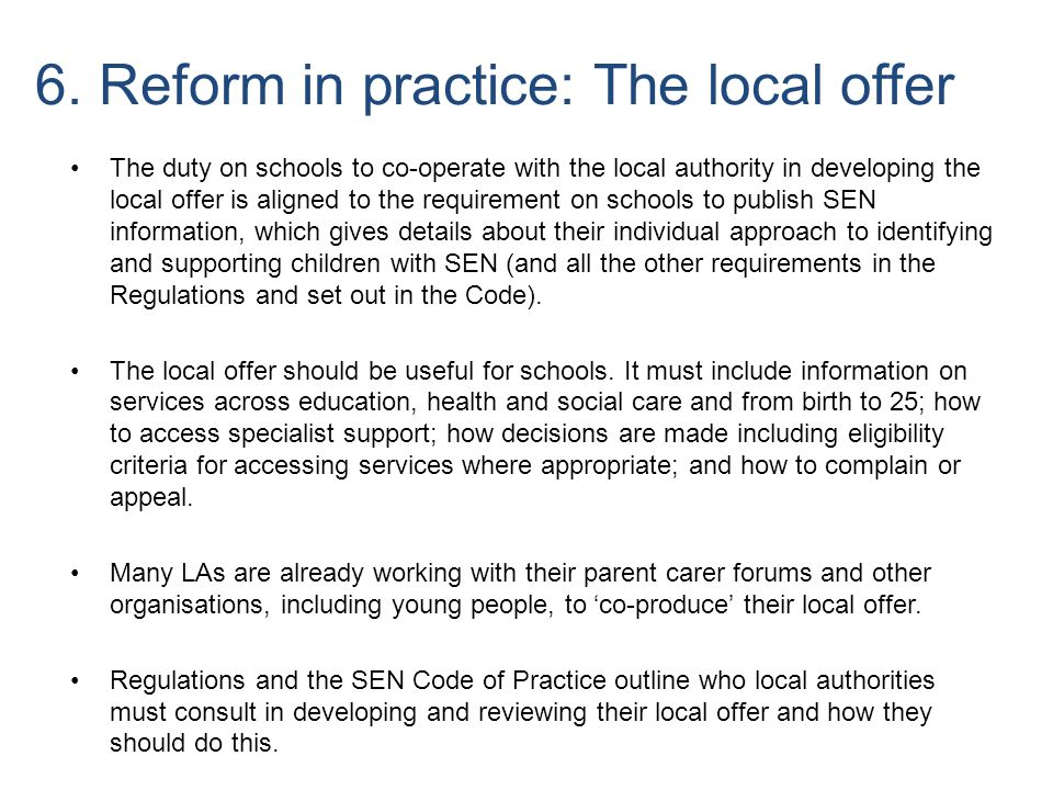 6. Reform in practice: The local offer