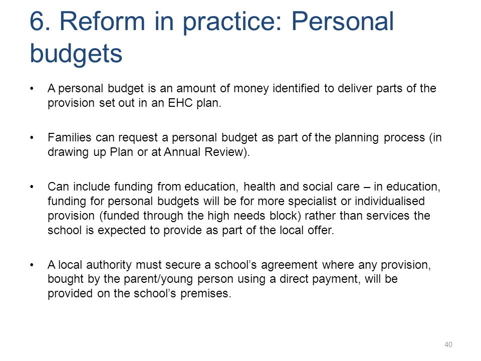 6. Reform in practice: Personal budgets