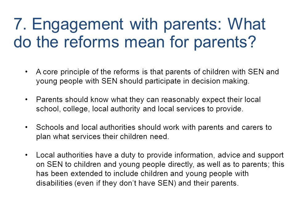 7. Engagement with parents: What do the reforms mean for parents