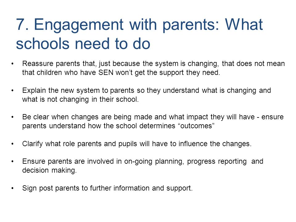 7. Engagement with parents: What schools need to do