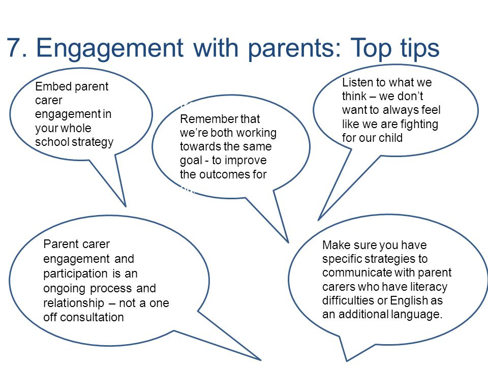 7. Engagement with parents: Top tips