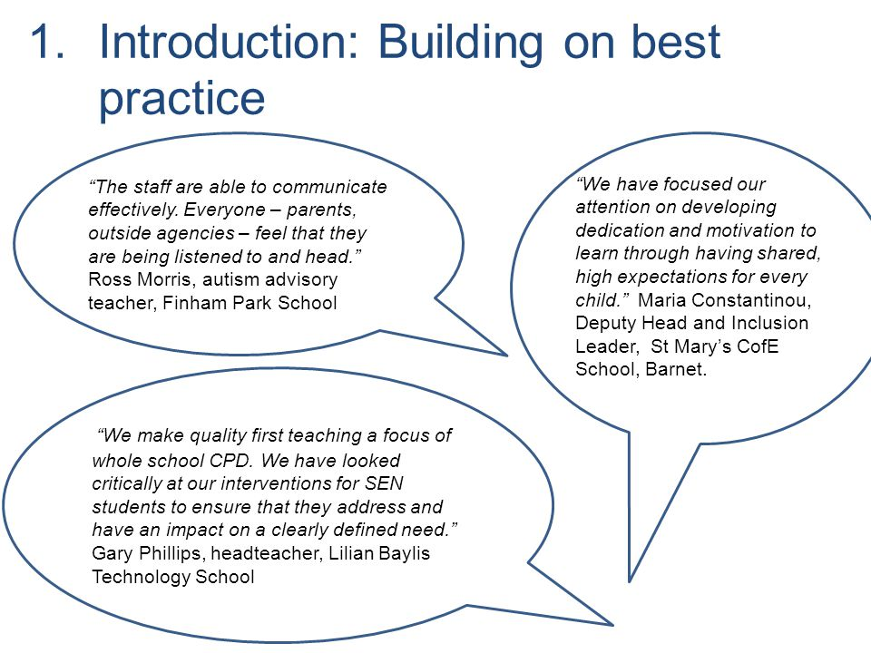 Introduction: Building on best practice