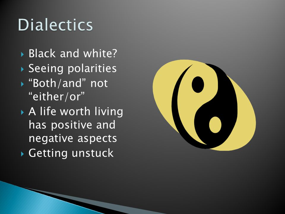 Dialectics Black and white Seeing polarities