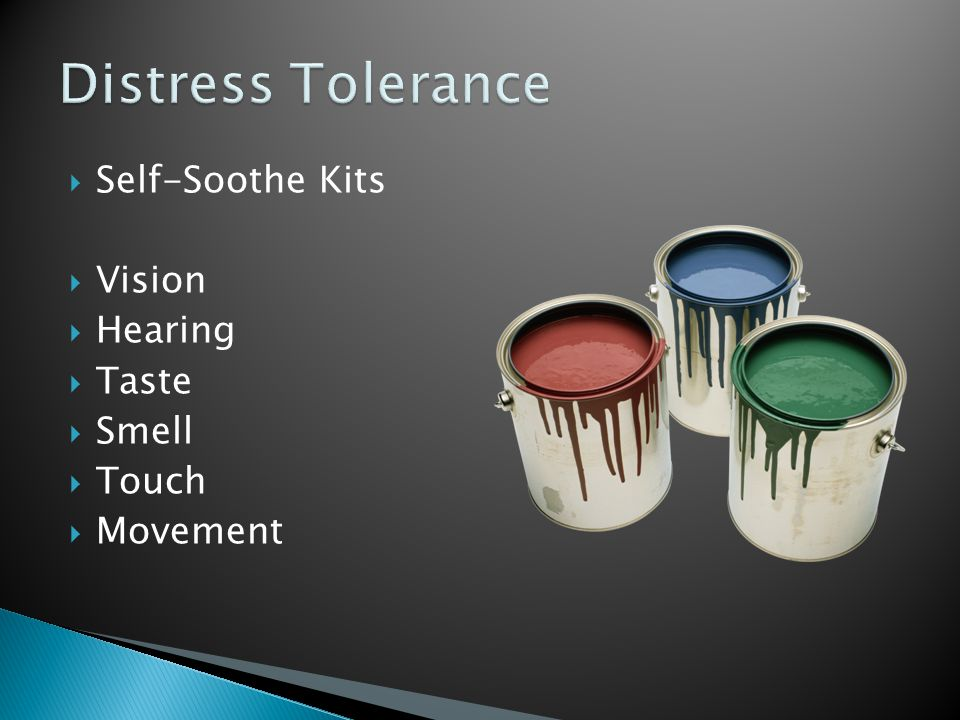 Distress Tolerance Self-Soothe Kits Vision Hearing Taste Smell Touch