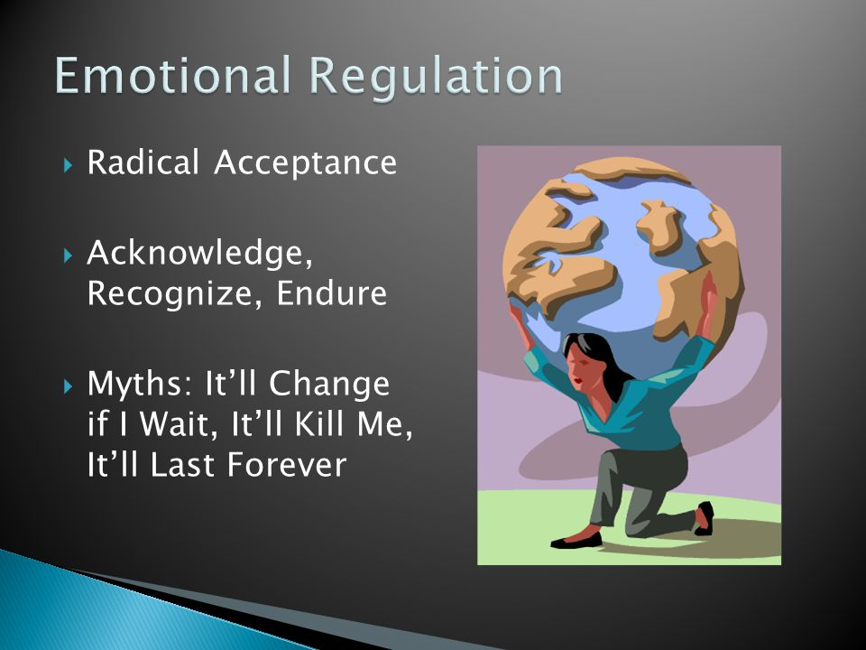 Emotional Regulation Radical Acceptance Acknowledge, Recognize, Endure