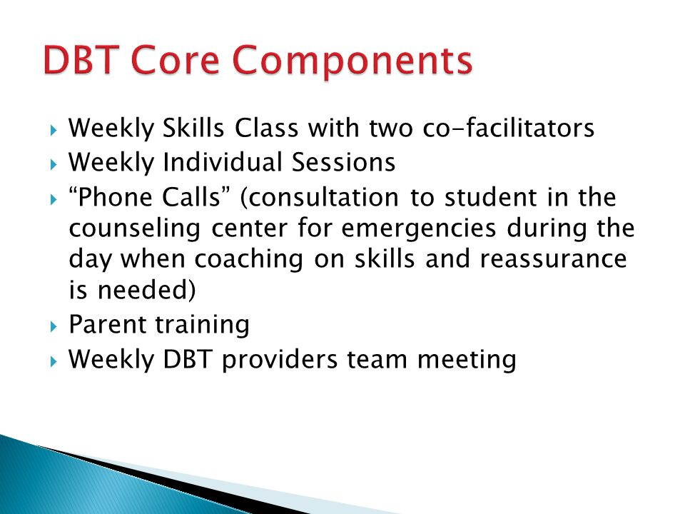 DBT Core Components Weekly Skills Class with two co-facilitators