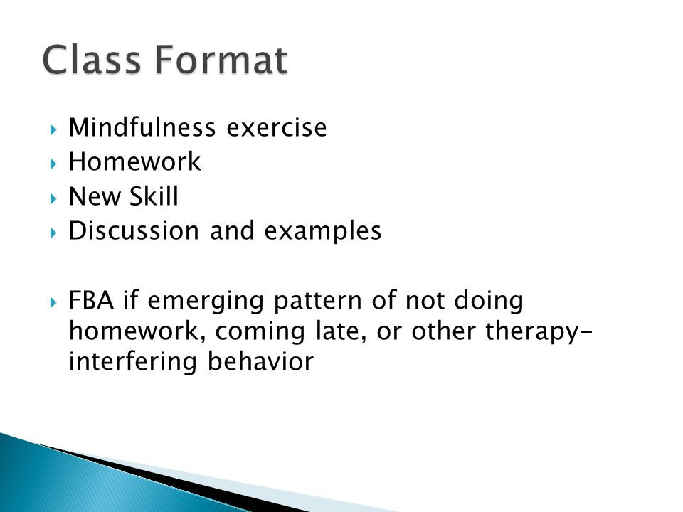 Class Format Mindfulness exercise Homework New Skill