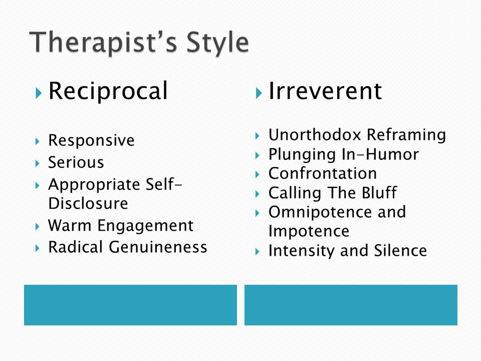 Therapist's Style Reciprocal Irreverent Responsive