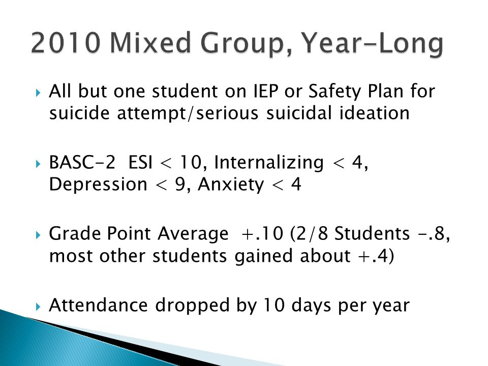 2010 Mixed Group, Year-Long All but one student on IEP or Safety Plan for suicide attempt/serious suicidal ideation.